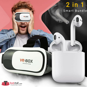 2 in 1 Bundle - VR Box Version Virtual Reality Glasses + Bluetooth Headset - TUZZUT Qatar Online Store