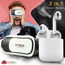 Load image into Gallery viewer, 2 in 1 Bundle - VR Box Version Virtual Reality Glasses + Bluetooth Headset - TUZZUT Qatar Online Store