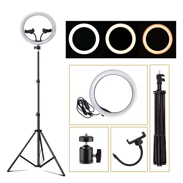 12-Inch Selfie Ring Fill Led Light With Tripod and Two Mobile Holders - TUZZUT Qatar Online Store