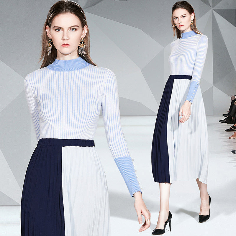 Women's Casual Autumn Winter Turtleneck Stripe Belt Top And Skirt Dresses - TUZZUT Qatar Online Store