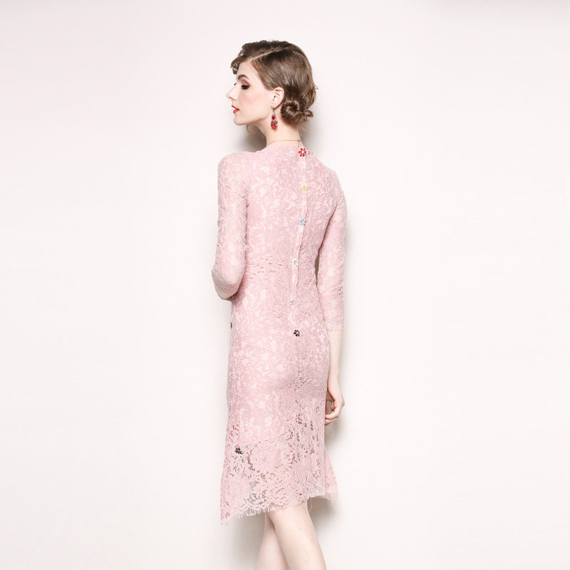Women's Golden Sun Pin Red Flower Embroidery Pink Lace Slim Hollow Out Dresses - TUZZUT Qatar Online Store