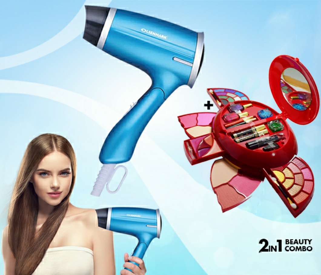 2 in 1 Beauty Combo Olsenmark OMH4008 1400 Watts Hair Dryer + Kmes C-918 Butterfly Design Makeup Kit - TUZZUT Qatar Online Store