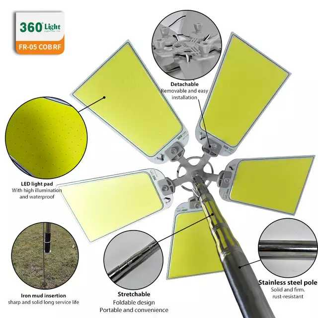 360° Multifunction Outdoor 1250W LED Super Bright Tent Light Rod Remote Control Camping Lantern - TUZZUT Qatar Online Store