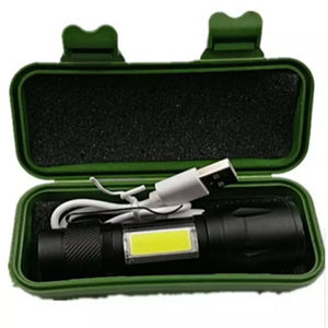 COB LED Flash Light  USB Charging Powerful Flashlight 3800LM XPE Zoomable Tactical Torch Lamp+Battery+Box
