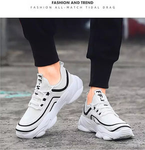 Trending Fashion Breathable Non-slip Tennis Sneakers Men Shoes - Model 9920 (White) - TUZZUT Qatar Online Store