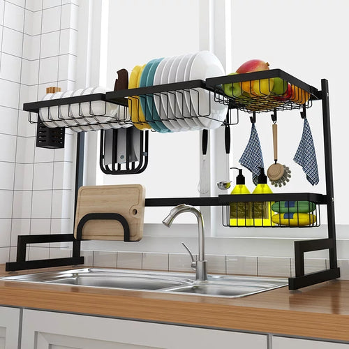 Kitchen Rack Shelf Dish Drying Rack 85cm Over The Sink - Black - TUZZUT Qatar Online Store
