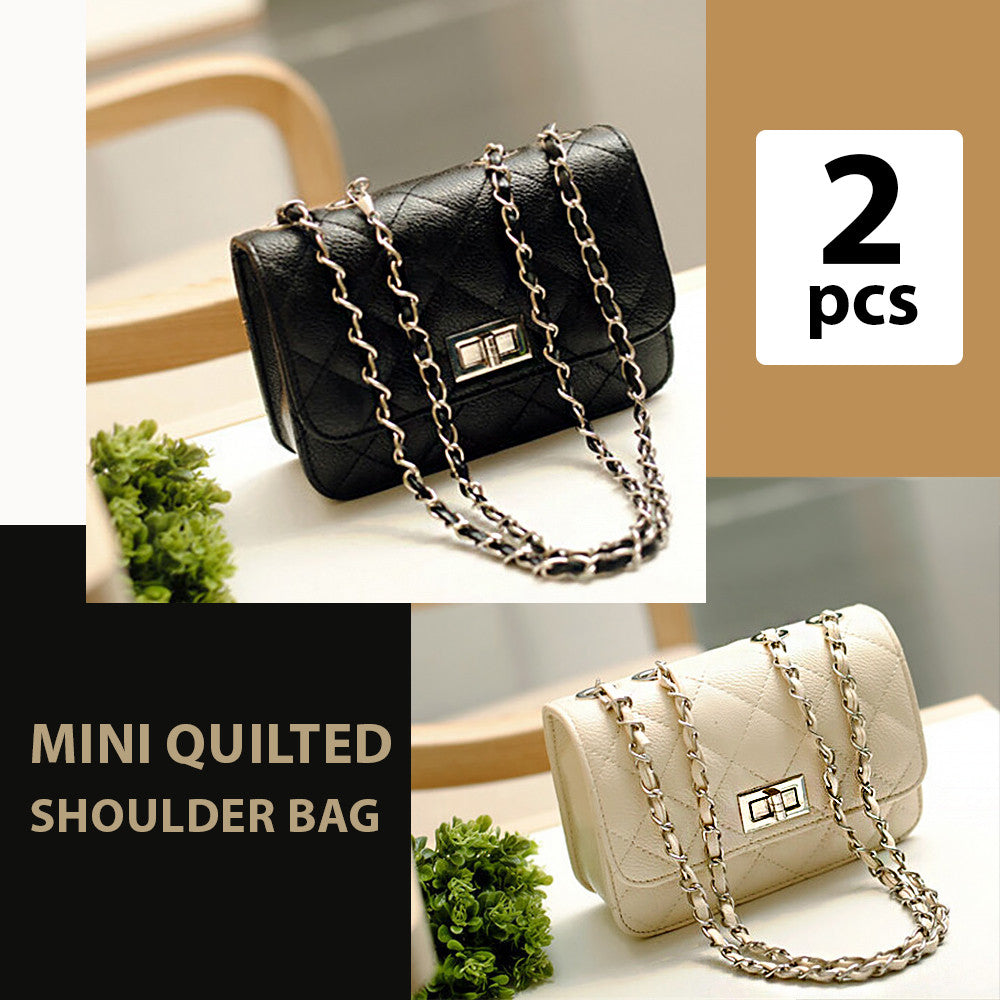 Quilted Mini Shoulder Bag Set of 2 Pieces - TUZZUT Qatar Online Store