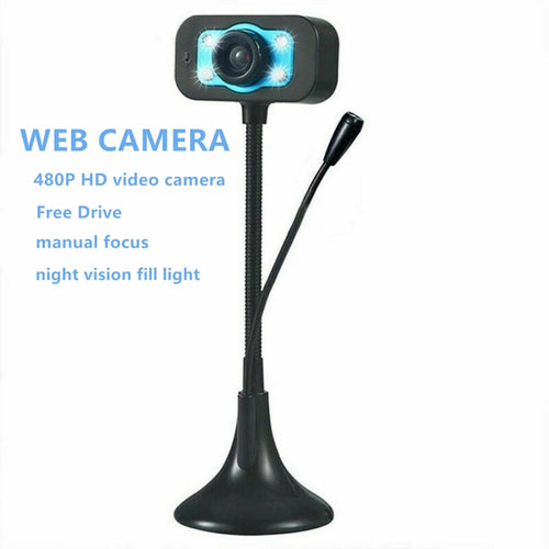 USB Digital PC Webcam 480P Driverless Camera with Microphone and Night Vision Fill Light - TUZZUT Qatar Online Store