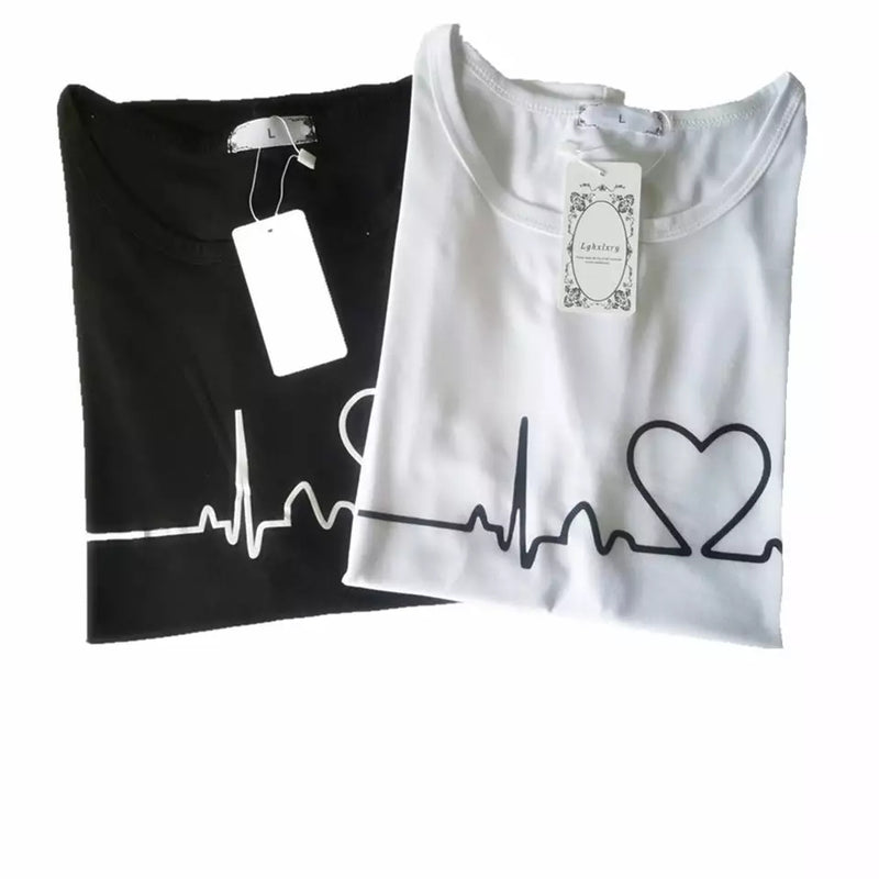 2 Pcs New Summer Love Printed Women's Short Sleeve Causal T-Shirts (Black & White) - TUZZUT Qatar Online Store