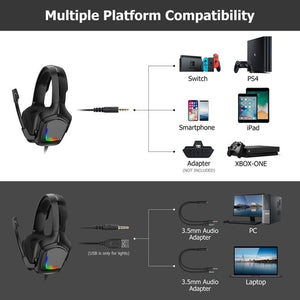 ONIKUMA K20 RGB Light Gaming Headset HD Stereo 3.5mm Audio with Mic for PS4 Xbox One Switch - TUZZUT Qatar Online Store