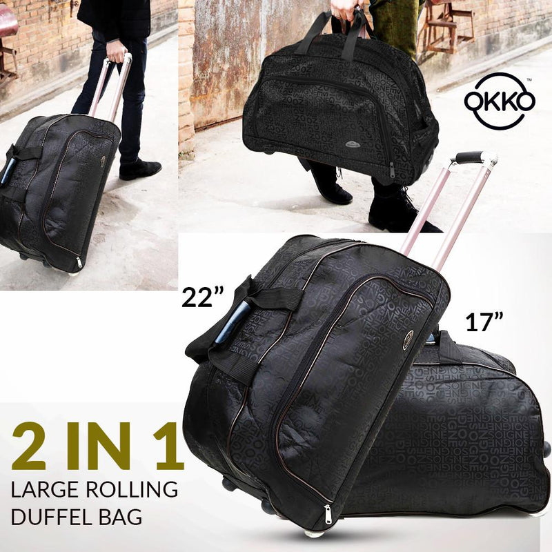 OKKO 2 in 1 Oxford Multi Function Large Rolling Duffle Bag - Black - TUZZUT Qatar Online Store