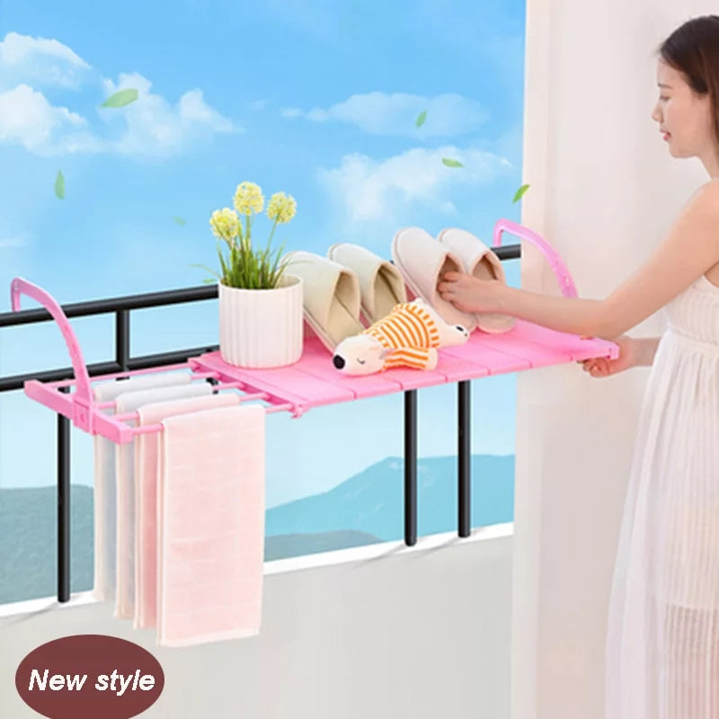 Foldable Balcony Towel/Clothes/Shoe Hanging Drying Storage Organizer - TUZZUT Qatar Online Store