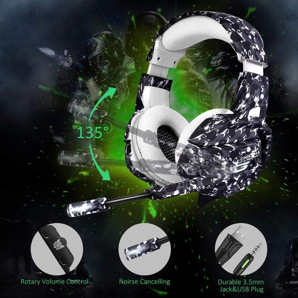 Onikuma K5-Camo Gaming Headset  with Microphone, 7.1 Surround Sound, Noise Canceling for PS4, Xbox One, Laptop, PC - TUZZUT Qatar Online Store