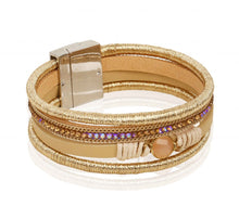 Load image into Gallery viewer, AF Italian Design 4 Layer Drop Magnetic Lock Bracelet - Gold