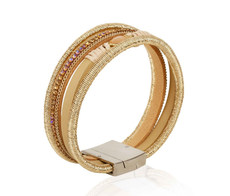 AF Italian Design 4 Layer Drop Magnetic Lock Bracelet - Gold - TUZZUT Qatar Online Store