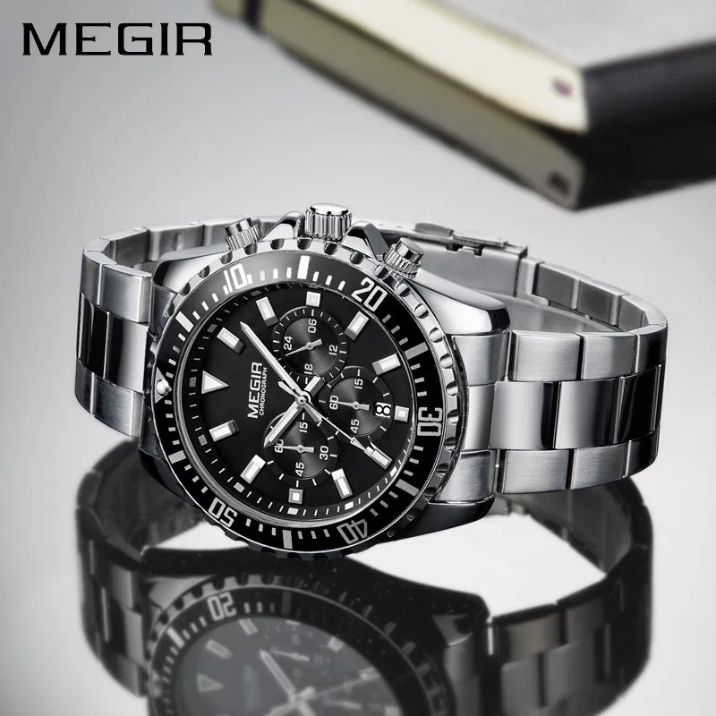 MEGIR 2064 Business Quartz Watch Men Stainless Steel Chronograph Wrist Watch - Silver - TUZZUT Qatar Online Store