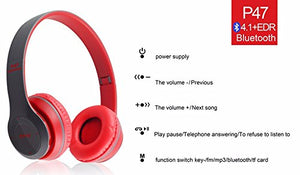 Foldable Bluetooth Wireless P47 Headphones Noise Canceling MP3/MP4/FM Player (ASSORTED COLOURS) - TUZZUT Qatar Online Store