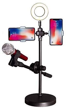 4 in 1 new mobile live voice professional stand with light and Mic holder - TUZZUT Qatar Online Store