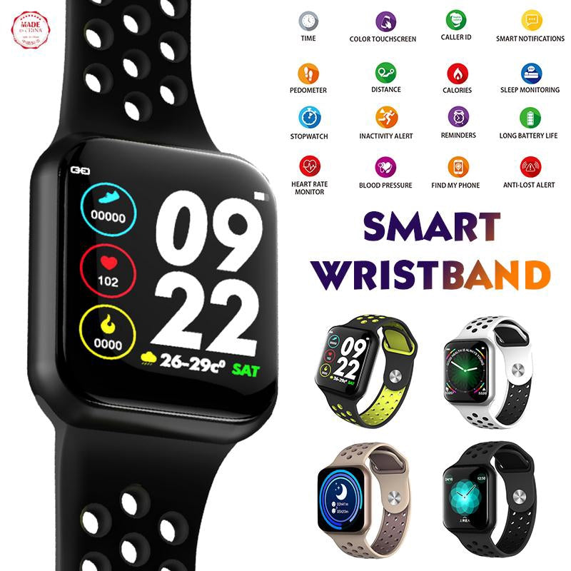 F8 Sports Smart Watch Full Touchscreen Bluetooth Music Control Heart Rate Monitor Sleep Tracker Support IOS Android - TUZZUT Qatar Online Store