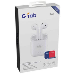 Gtab Earphones & Headsets G-tab TW3 Wireless Stereo V5.0 Bluetooth Headset with Charging Case + Free Silicon Case - TUZZUT Qatar Online Store