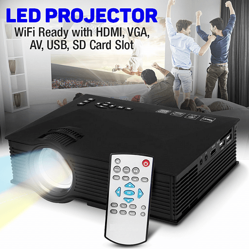 Bison Entertainment HD LED Projector, 1200 Lumens, Wi-Fi Ready With HDMI, VGA, AV, USB, SD Card Slot, BS-46 - TUZZUT Qatar Online Store
