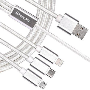 iPack 3 in 1 USB Cable Quick Charge and Data Transmission (Type-C, iPhone and Micro USB) - TUZZUT Qatar Online Store