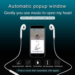 Automatic pop-up window Headphones Wired Bluetooth Earphone for Apple IPhone X XR XS Max 8 7 Plus Earbuds with Microphone EarPhone - TUZZUT Qatar Online Store