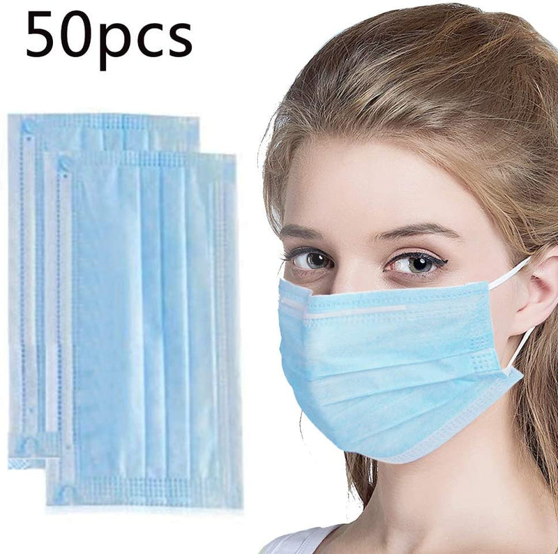 50 Pcs Disposable Face Masks- 3-Ply Breathable & Comfortable Filter + 2 Pcs Adjustable Earhook - TUZZUT Qatar Online Store