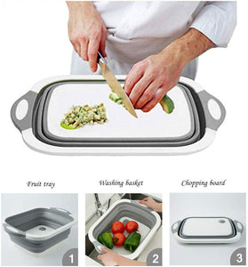 Multi-function 3-in-1 Collapsible Cutting Board Foldable Food Strainers,Drain Basket,Folding Drain Basket, Folding Chopping Board for Kitchen - TUZZUT Qatar Online Store