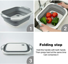 Load image into Gallery viewer, Multi-function 3-in-1 Collapsible Cutting Board Foldable Food Strainers,Drain Basket,Folding Drain Basket, Folding Chopping Board for Kitchen - TUZZUT Qatar Online Store