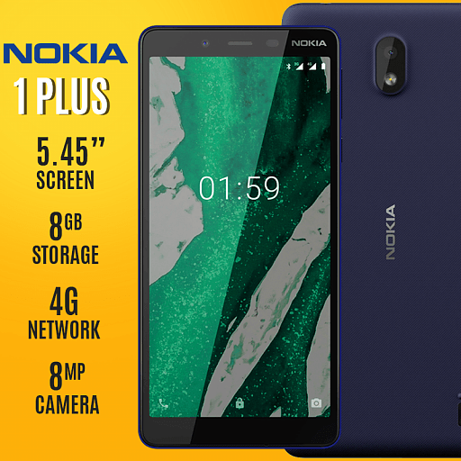 Nokia 1 Plus, 1GB Ram, 8GB Memory, 4G LTE Dual Sim With 1 Year Warranty, Blue (with Free Gifts)