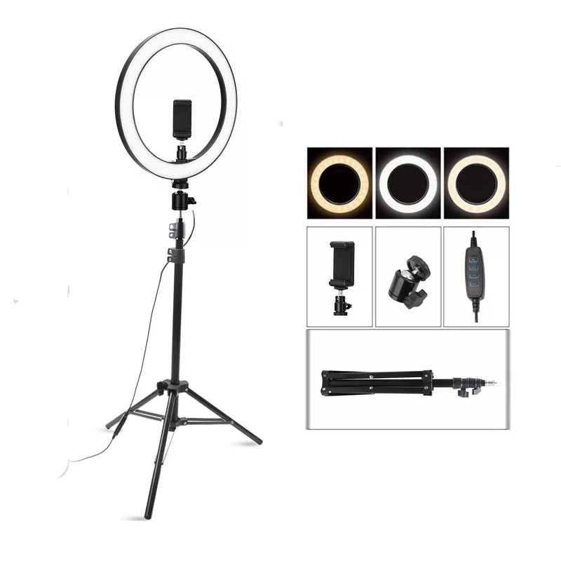 15-Inch Selfie Ring Fill Light A380 - 3200K-5600K 40W 336 Led With Tripod - TUZZUT Qatar Online Store