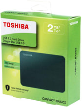 Load image into Gallery viewer, Toshiba Canvio Basics 2TB Portable External Hard Drive USB 3.0, Black (HDTB420XK3AA) - TUZZUT Qatar Online Store