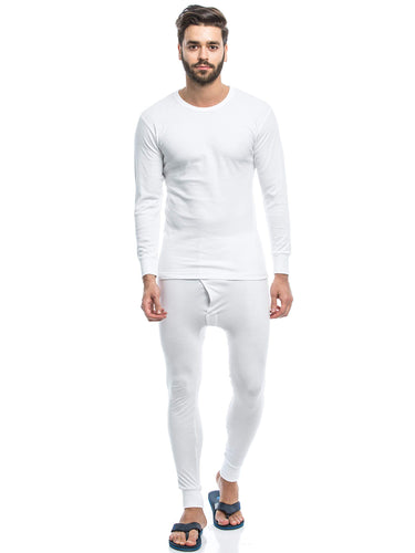 Full Sleeve Cotton Thermal Pajama Set For Men - White - TUZZUT Qatar Online Store
