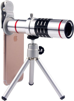 Cell Phone Camera Lens 18X Telephoto Lens with Tripod and Clip for iPhone Samsung Most Smartphones (Silver)