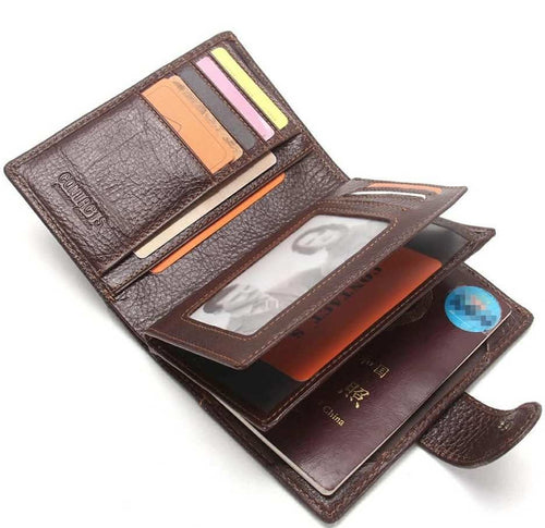 Genuine Leather Passport Holder Travel Trifold Passport Card Wallet - TUZZUT Qatar Online Store