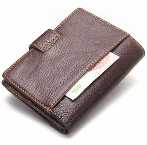 Genuine Leather Passport Holder Travel Trifold Passport Card Wallet