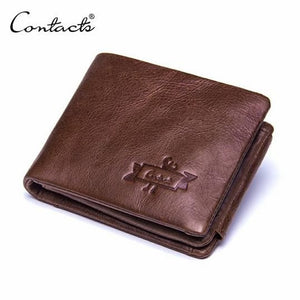 Men's Genuine Leather Cowhide Trifold Wallet (Model No. GMW009)