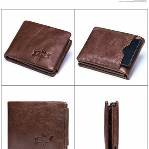 Men's Genuine Leather Cowhide Trifold Wallet (Model No. GMW009) - TUZZUT Qatar Online Store