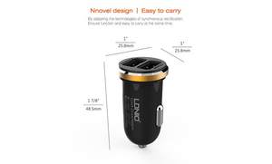 LDNIO 2 USB 5V-2.1A Quick Car Charger (Dual Port)
