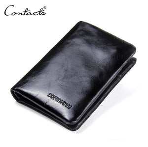 Genuine Leather Cowhide Bifold Classic Pocket Wallet for men -Black