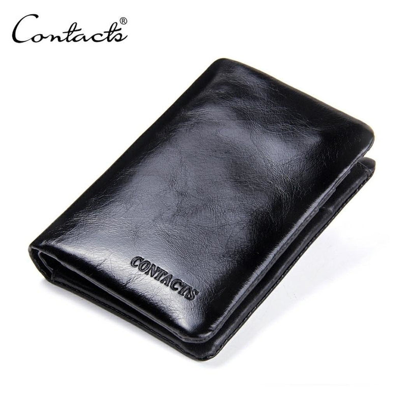 Genuine Leather Cowhide Bifold Classic Pocket Wallet for men -Black - TUZZUT Qatar Online Store