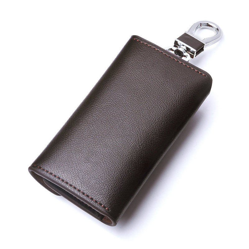 Contacts Genuine Leather Car Key Case Card ID Holder Wallet Keyring Keychain - COFFEE - TUZZUT Qatar Online Store