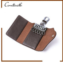 Load image into Gallery viewer, Contacts Genuine Leather Car Key Case Card ID Holder Wallet Keyring Keychain - COFFEE - TUZZUT Qatar Online Store