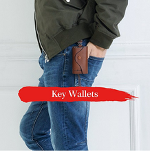 Load image into Gallery viewer, Contacts Genuine Leather Car Key Case Card ID Holder Wallet Keyring Keychain - COFFEE