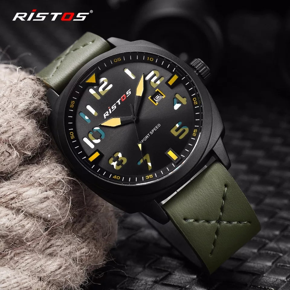 Fashion Ristos Brand Men Quartz Analog Watch Army Style Leather Watches Reloj Masculino Hombre Man Sport Military Design 9351 - TUZZUT Qatar Online Store