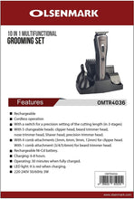 Load image into Gallery viewer, OLSENMARK 10 in 1 Rechargeable Grooming Set OMTR4036 - TUZZUT Qatar Online Store