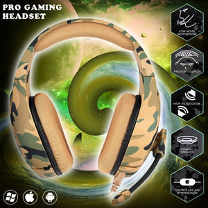 ONIKUMA K1- B Camouflage Design Headset with Mic Over-Ear Stereo Music Gaming Headphones Earphone for PS4, New Xbox One, Laptop Tablet Gamer - Military Yellow - TUZZUT Qatar Online Store