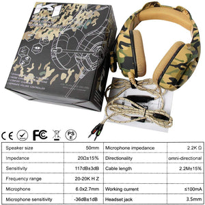 ONIKUMA K1- B Camouflage Design Headset with Mic Over-Ear Stereo Music Gaming Headphones Earphone for PS4, New Xbox One, Laptop Tablet Gamer - Military Yellow