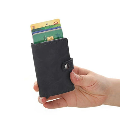 Leather RFID Aluminum Credit Card Holder (automatic Pop Up)- Small Card Case Wallet